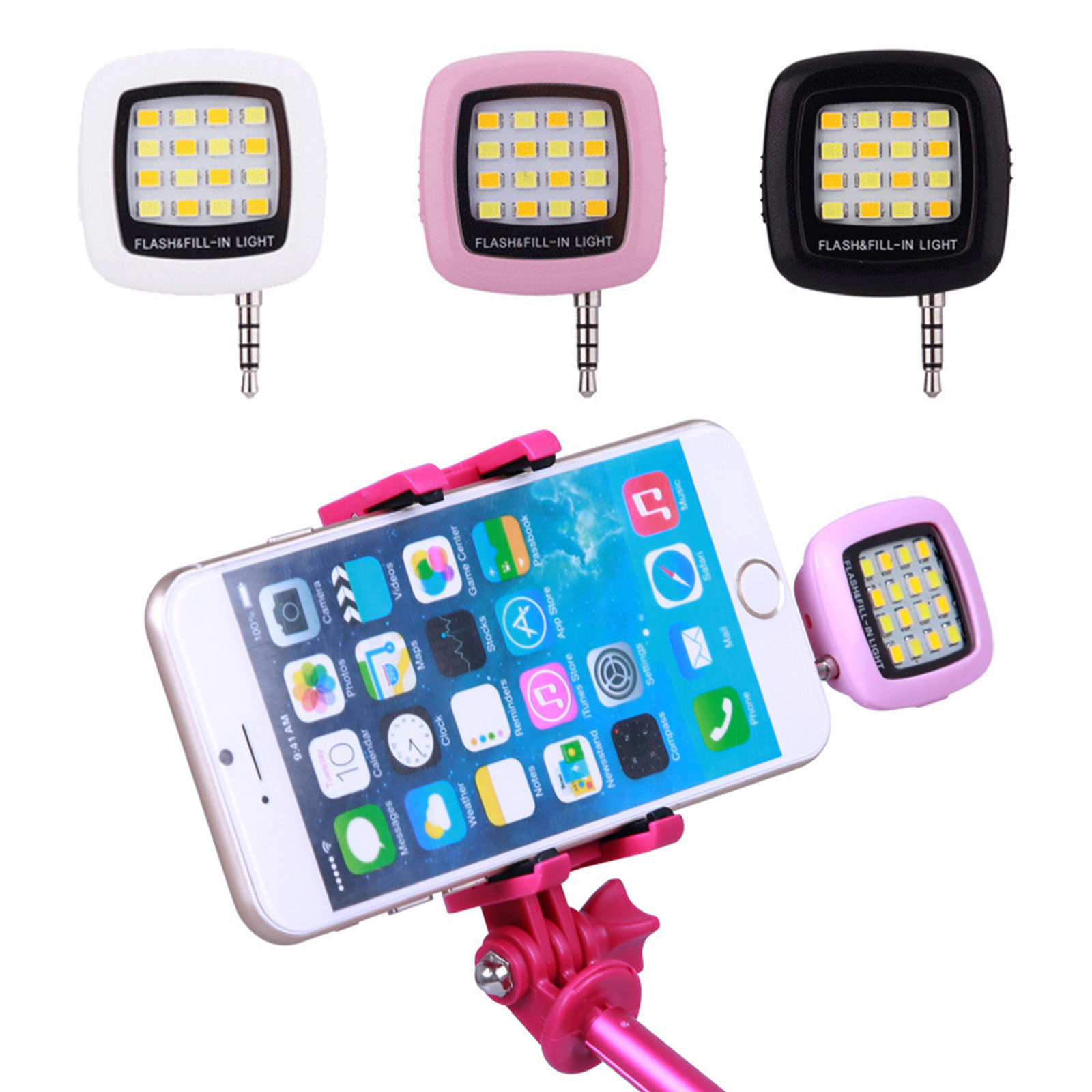 Smart Selfie Mini 16 LED Bulbs Camera Flash Light For Mobile Phone iOS Android